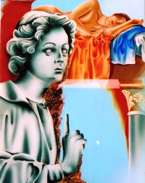 """Diego Valentinuzzi """" Statue Veneziane """" tec mista su tavola (acrilico, olio foglia d'oro ) 30x40 2008"""