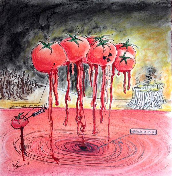 Jürgen Bley, SPANISCHE TOMATEN, mixed media on paper, 50 x 50 cm