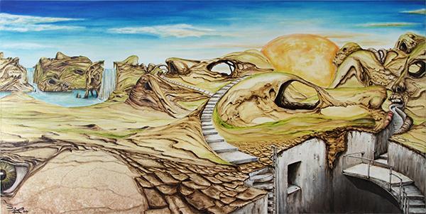 Jürgen Bley, KOPFLANDSCHAFT, 60 x 120 x 5 cm, Acryl auf Leinwand, 2014
