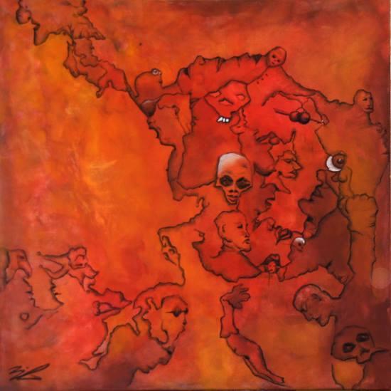 Jürgen Bley, RED FACES, 100 x 100 x 5 cm, Ei-Tempera auf Leinwand, 2014