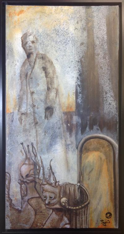 Jürgen Bley, BURGHOF, Acryl auf Leinwand, 80 x 40 x 2 cm, (mit oder ohne Schattenfugenrahmen schwarz), 2015