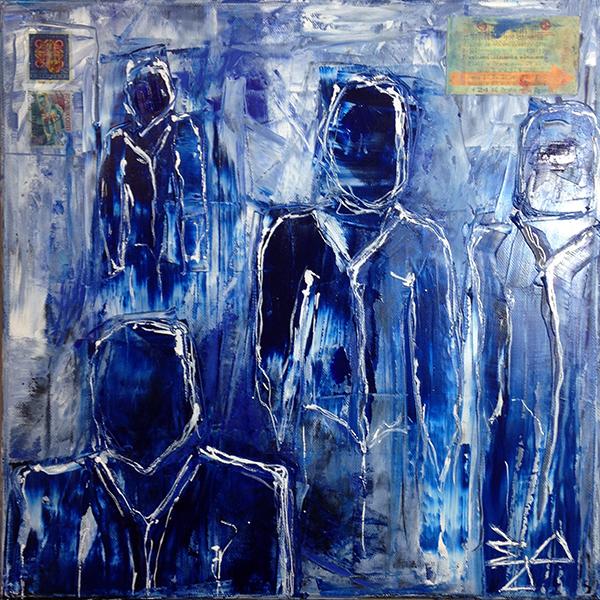 Jürgen Bley, PRAGER, Öl auf Leinwand, 40 x 40 x 2 cm, (mit oder ohne Schattenfugenrahmen schwarz), 2015