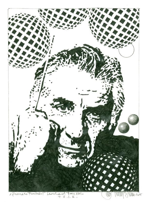 """Herbert Bauer, LEONARD BERNSTEIN, series """"Icons of music"""", 30 x 22 cm, graphit on paper, 2015"""
