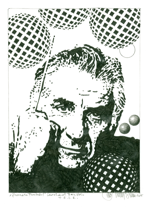"Herbert Bauer, LEONARD BERNSTEIN, series ""Icons of music"", 30 x 22 cm, graphit on paper, 2015"