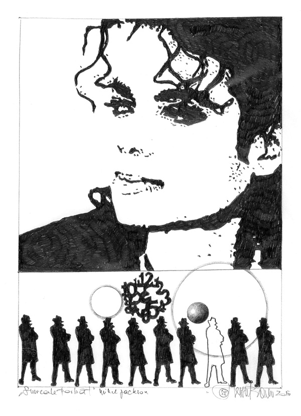 "Herbert Bauer, MICHAEL JACKSON, series ""Icons of music"", 30 x 22 cm, graphit on paper, 2015"