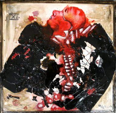 Jürgen Bley, NACHGEBURT, mixed media auf Leinen, 40 c 40 x 2 cm, 2017