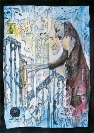 Jürgen Bley, KNOCKING ON HEAVENS DOOR, series Nosferatu, 30 x 21 cm, mixed media on paper, 2015