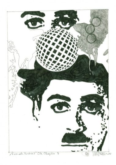 Herbert Bauer, CHARLIE CHAPLIN no.3, 30 x 21 cm, graphit pen on paper, 2015