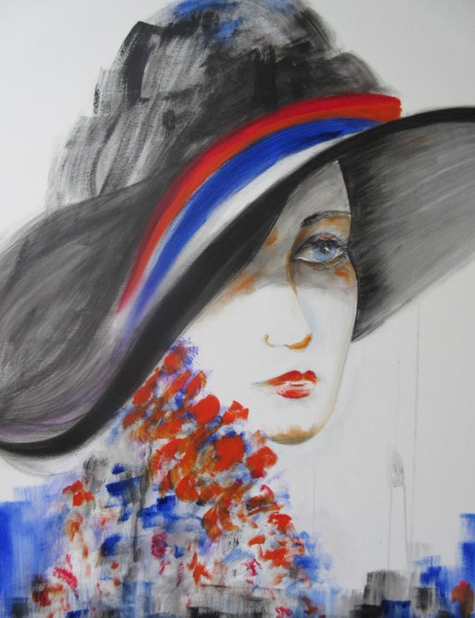 Regina Merta, Dame mit Hut I, 2014, 80x100cm, Acryl auf Leinen
