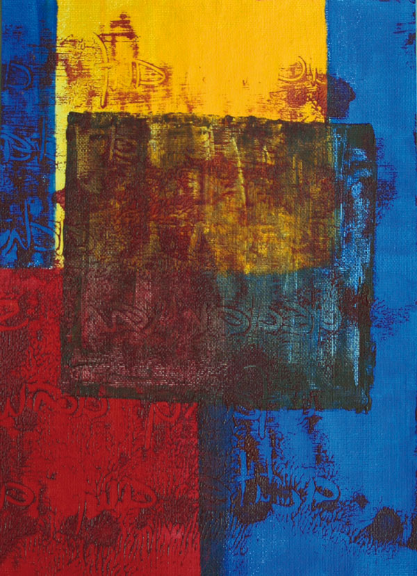 Gerlinde Kosina, ROT-BLAU-GELB, 29.7 x 21 cm, acrylic on canvas, 2015