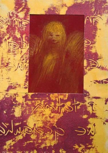 Gerlinde Kosina, SCHUTZENGEL, 29.7 x 21 cm, oil, acrylic on canvas, 2015