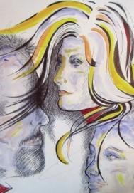 Regina Merta, ANGELS MASK, 29.7 x 21 cm, mixed media on paper, 2015