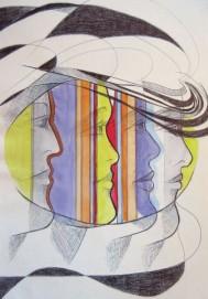 Regina Merta, ANGELS, 29.7 x 21 cm, mixed media on paper, 2015