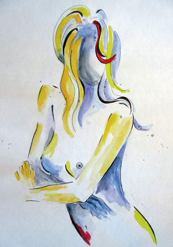 Regina Merta, NAKED TRUTH, 29.7 x 21 cm, mixed media on paper, 2015