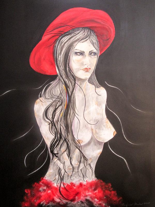 Regina Merta, ROTER HUT, 100 x 80 cm, acrylic on canvas, 2015