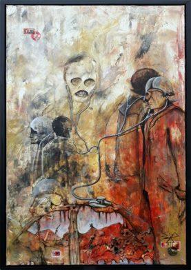Jürgen Bley, ÜBERWACHUNG, Mixed media auf Leinwand, 120 x 80 cm,