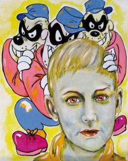 Herwig Maria Stark, THE LEGACY OF THE BEAGLE BOYS, mixed media on canvas, 50 x 40 cm