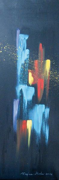 Regina Merta, BUNTE ARCHITEKTUR BEI NACHT I, acrylic on canvas, 80 x 30 cm