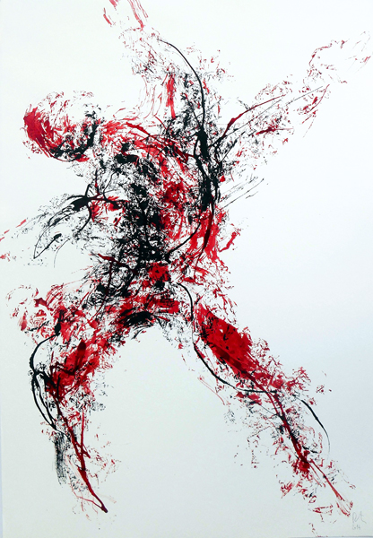 Darius Foroutan, DANCER, ink on drawing board, 70 x 48 cm, 2014