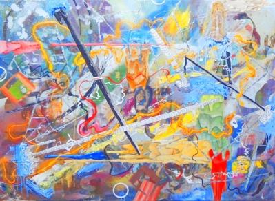 Mario Kicker, 0.-, mixed media on canvas, 75 x 100 cm