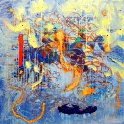 Mario Kicker, 0.-., mixed media on canvas, 80 x 80 cm