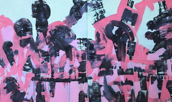 Jürgen Haupt, Evolution, Mischtechnik auf Leinwand, Diptychon, 120 x 200 cm, 2016