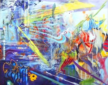 Mario Kicker, -.I.-.0, mixed media on canvas, 75 x 89 cm