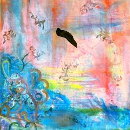 Mario Kicker, u.-.I.-., mixed media on canvas, 100 x 100 cm
