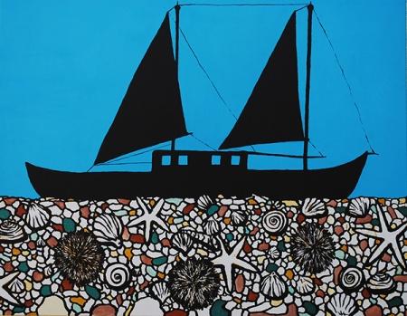 ADMIRA BRADARIC, EIN SCHIFF WIRD NICHT SINKEN,  Acryl auf Leinen, 60 x 80 cm