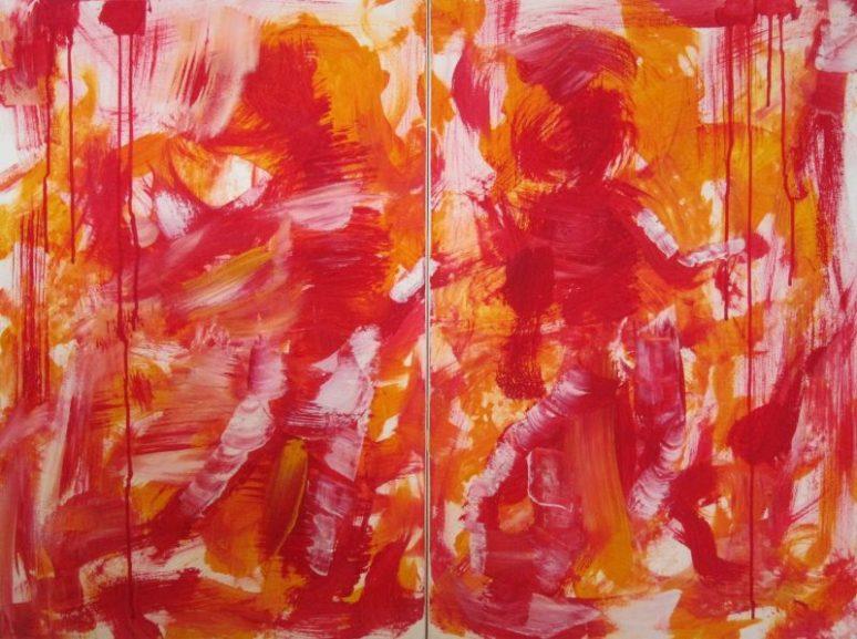 Jürgen Haupt, AUF DEN ERSTEN BLICK, Diptychon, Acryl auf Leinwand, Gesamtgröße 80 x 120 cm, 2015