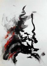 DARIUS FOROUTAN, Composition 1, ink on drawing board, 2014, 48 x 70 cm gerahmt und verglast in schwarzem Holzrahmen (57 x 79 cm mit Rahmen),signiert, datiert und rückseitig mit Atelierstempel versehen