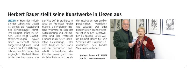 """Bericht in den ENNS-SEITEN über die Ausstellung """"REALES UND SURREALES"""" von Herbert Bauer in Liezen"""