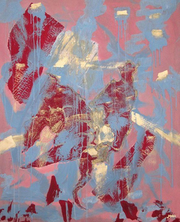 Jürgen Haupt, HOCH ZU ROSS, mixed media (Collage,Acryl) auf Leinwand, 100 x 80 cm, 2014