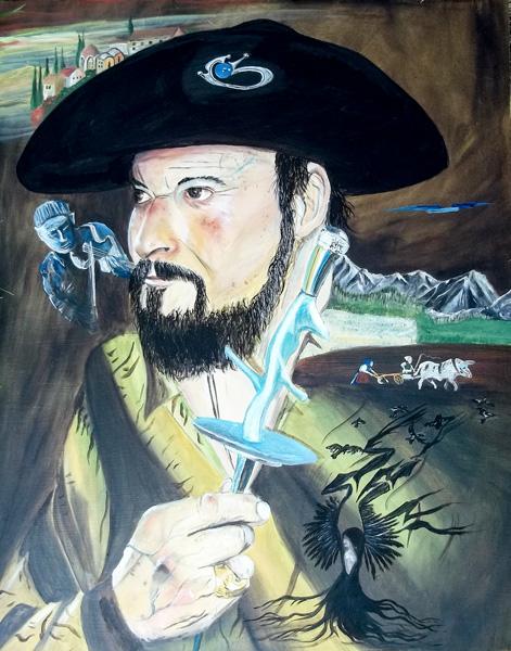 EDDIE, Der surreale Traum des Juan, Öl auf Holz, 64 x 54 cm