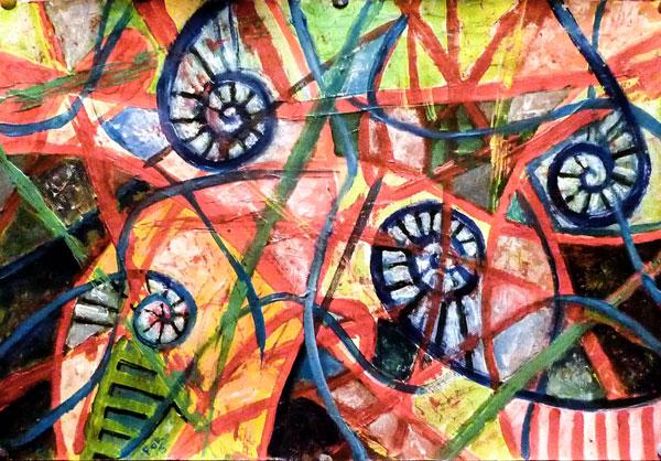 Darius Foroutan, Innenwelt, Acryl auf Zeichenkarton, 50 x 62 cm