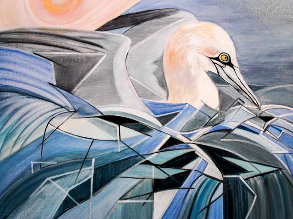 Ingrid Halter, Ruhender Basstölpl, H2 Ölfarben auf Leinwand, 60 x 70 cm
