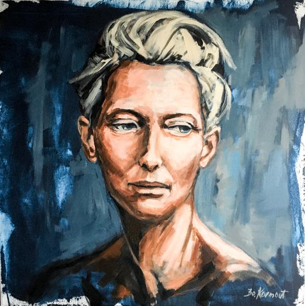 Bozena Kormout, Portrait II, Acryl auf Leinwand, 70 x 70 cm