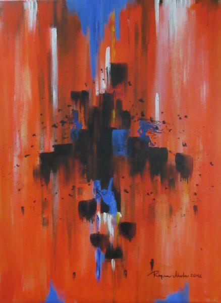 Regina Merta, Menschen im Orange-Chaos, Acryl auf Leinen, 80 x 60 cm, 2016