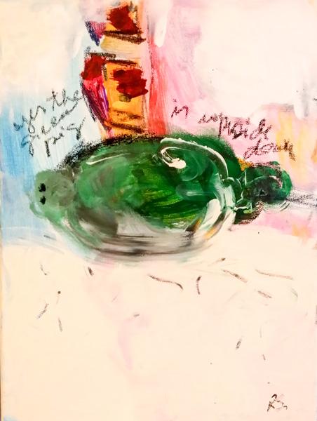 Rosangela Scheithauer, Yes the green pig is upside down no1, Acryl und Kohle auf  Leinen, 40 x 30 cm