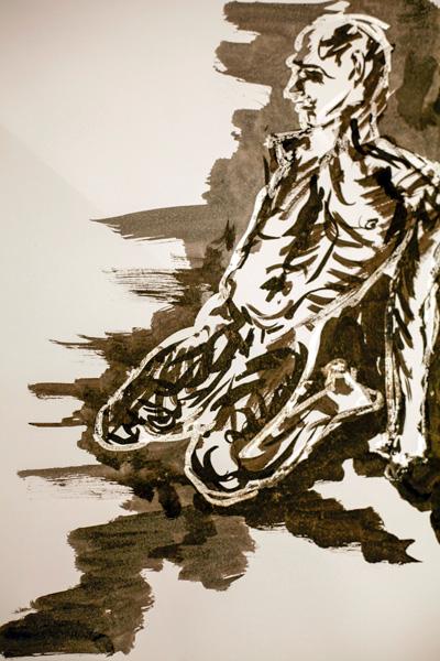 Chris UI, Inside/Out, tusche und Maskierflüssigkeit auf Papier, 42 x 30 cm