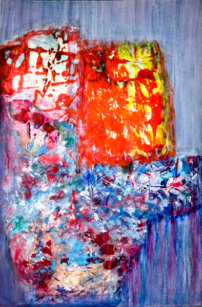 Gisela Zimmermann, CHAOS Collage, Acryl auf Leinen, 70 x 50 cm