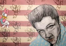 Herwig Maria Stark, DAISY VEGAS, mixed media on canvas, 70 x 100 x 4 cm, 2016