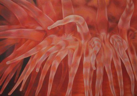 Daisy Gold, ANEMONE ROT, Öl auf Leinwand, 70 x 100 cm, 2012