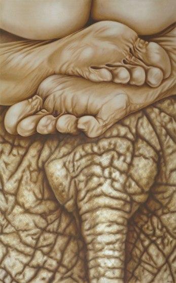 Daisy Gold, ELEFANT, Öl auf Leinwand, 160 x 100 cm, 2012