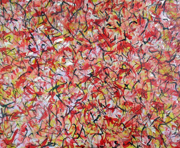 Darius Foroutan, JAMAA EL FANA, Acryl auf Karton 80 x 100 cm, 2019