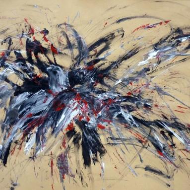 Darius Foroutan, ETUDE 9, Acryl auf braunem Papier, 50 x 70 cm, 2018