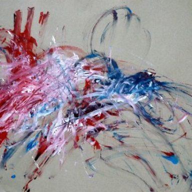 Darius Foroutan, ETÜDE 12, Acryl auf grauem Papier, 50 x 70 cm, 2018