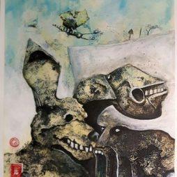 Jürgen Bley, BIENE HEBT MIT SCHNUFFI AB, Acryl auf Papier, 42 x 52 cm, ©Jürgen Bley, 2017