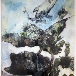 Jürgen Bley, BEFLÜGELTE LUST DES SCHWEIGENS, Acryl auf Papier, 42 x 52 cm, ©Jürgen Bley, 2017