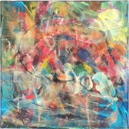 Mario Kicker, POLYPTICHX 04.02, 28 cm x 28 cm, Mixed Media auf Leinwand, 2019